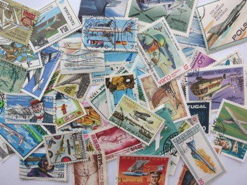 航空機の絵柄の使用済み切手
