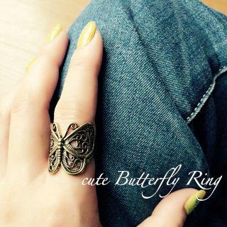 真鍮製 エスニック バタフライリング 蝶指輪