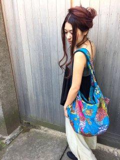 カラフルでかわいい わんちゃんも入る ☆二重刺し子のトートバッグ☆ 全8色
