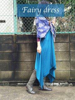 美しくエレガントに体型カバー 当店人気の妖精マキシワンピ ブルー