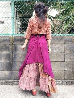 美しくエレガントに体型カバー 当店人気の妖精マキシワンピ ワインレッド