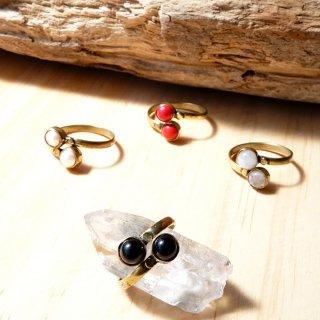 ダブルストーンリング 真鍮製 天然石指輪