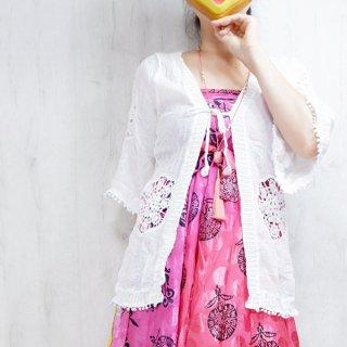 ボヘミアン風かぎ編みカーディガン 2色