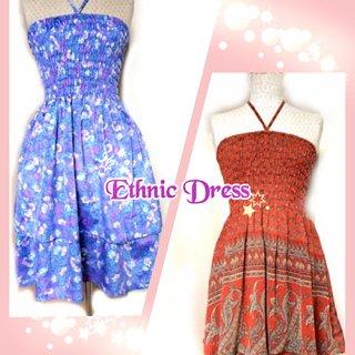 チュニック、スカート両方使えるアジアンワンピース 全6色