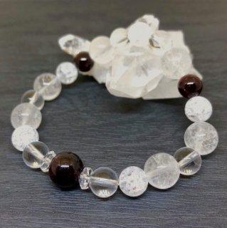 【1月・ ガーネット 】 誕生石 と ヒマヤラ水晶 の お守り 浄化 ブレス