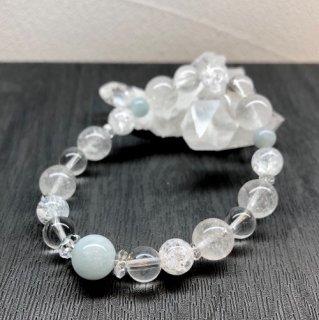【3月・ アクアマリン 】 誕生石 と ヒマヤラ水晶 の お守り 浄化 ブレス