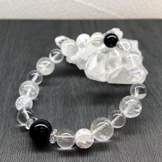 【4月・ モリオン 】 誕生石 と ヒマヤラ水晶 の お守り 浄化 ブレス
