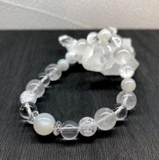 【6月・ ムーンストーン 】 誕生石 と ヒマヤラ水晶 の お守り 浄化 ブレス