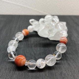 【8月・ サードオニキス 】 誕生石 と ヒマヤラ水晶 の お守り 浄化 ブレス