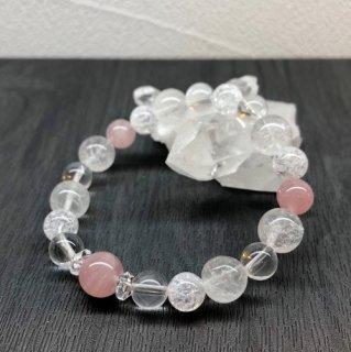 【10月・ ローズクォーツ 】 誕生石 と ヒマヤラ水晶 の お守り 浄化 ブレス