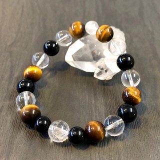 【4月・ ヒマラヤ水晶 】 誕生石 と モリオン の お守り 浄化 ブレス