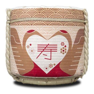 【レンタル】 鏡開き用 デザイナーズ樽「寿」 4斗空樽(ステンレス受け皿入) 2泊3日