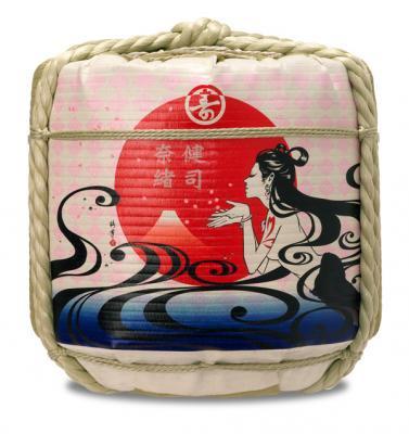 ツバキアンナ画 デザイナーズ樽酒 「咲くやこの花、咲けやこの酒」1斗樽(中身9L)