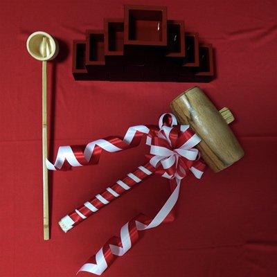 【レンタル】 婚礼用 鏡開きセット 枡10個・婚礼用木槌1本・竹杓1本 2泊