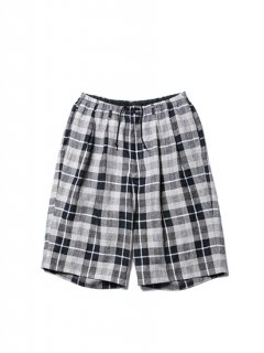Linen Check 2 Tuck Easy Shorts