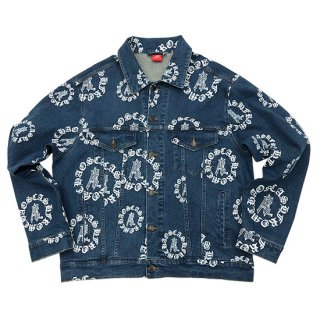 Æ CIRCLE LOGO ALL OVER DENIM TRUCKER JACKET