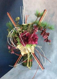 竹ベース/ピオニーとコチョウランの正月飾りNo.52003