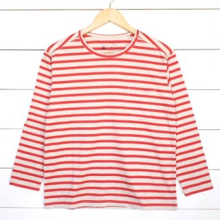 rulezpeeps(ルールズピープス) 24 Cotton Border 8/10 Length Tee (Apricot)