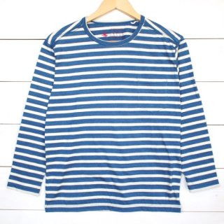 rulezpeeps(ルールズピープス) 24 Cotton Border 8/10 Length Tee (Blue)