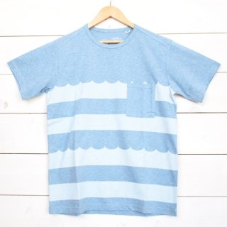 rulezpeeps(ルールズピープス) WAVE BORDER TEE (Light Blue x White)