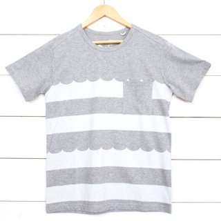 rulezpeeps(ルールズピープス) WAVE BORDER TEE (Charcoal Gray x White)