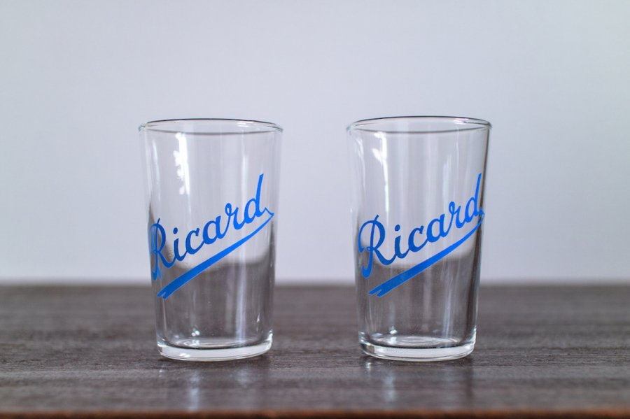 RICARD ミニグラス 筆記体ロゴ (2個セット)