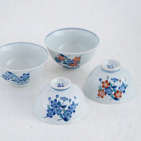 しだれ桜(色絵・染付)めし碗(大小)3500円+税〜