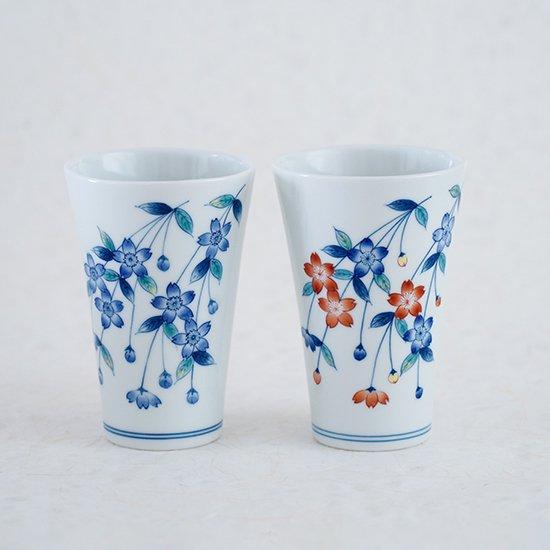 しだれ桜(色絵・染付)フリーカップ 4500円+税〜
