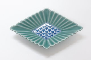 青磁菊割菱形多用鉢(大)
