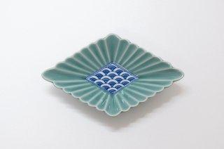 青磁菊割菱形多用鉢(小)