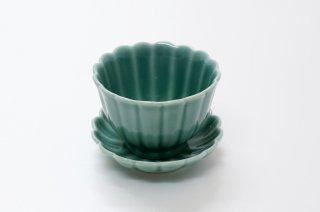 菊割 皿付煎茶碗 青磁