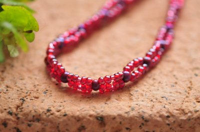 Fusha-dark-pink beaded necklace