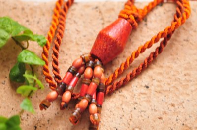 Orange and brown fringe necklace