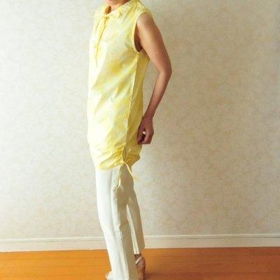型紙「フェリダの細リボンチュニック」S〜Lサイズと布150cmのセット