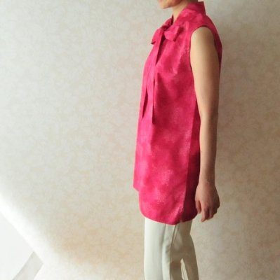 型紙「フェリダのボウタイチュニック」S〜LLサイズと布のセット