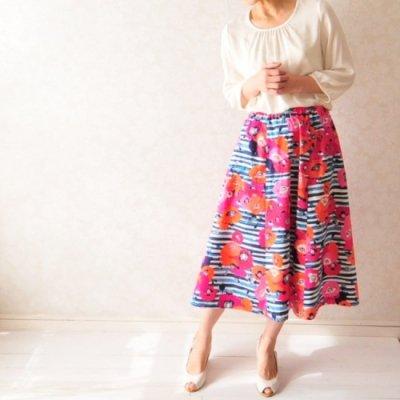 型紙キット「Let's sewing 6枚はぎのAラインスカート」フリーサイズ型紙と布210cmと付属品(ゴムベルト)