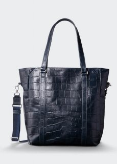 <img class='new_mark_img1' src='https://img.shop-pro.jp/img/new/icons47.gif' style='border:none;display:inline;margin:0px;padding:0px;width:auto;' />【aniary】 Double Emboss Leather 2WAY tote bag / ネイビー