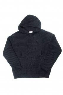 【Fenomeno-フェノメノ】  Rough gauge knit hoodie  BLK