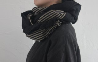 HARAPPA会津木綿ビッグストール 黒+棒縞