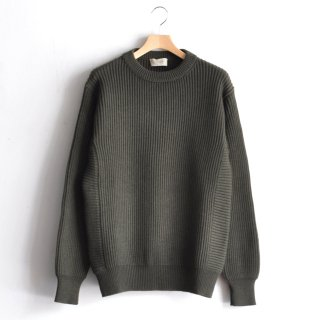 RIB CREW NECK KNIT [OLIVE GREEN]