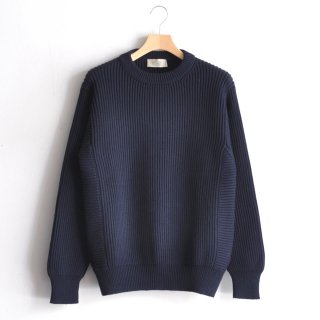 RIB CREW NECK KNIT [BLUE]