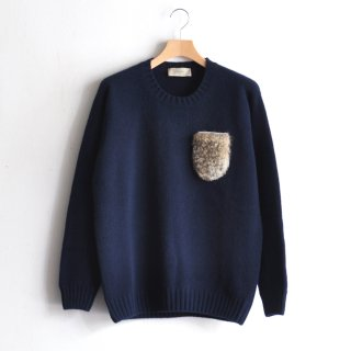 RABBIT FUR POCKET KNIT [BLUE]
