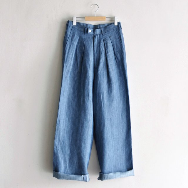 2-IN TUCK WIDE BAGGY PANTS [INDIGO LINEN]