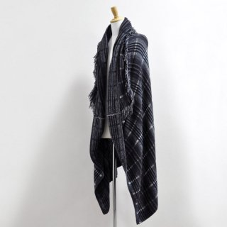 FRINGED CHECK CAPE [BLUECHECK]