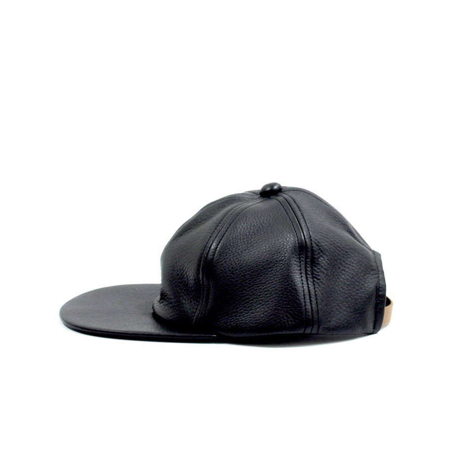 COW LEATHER CAP [BLACK]