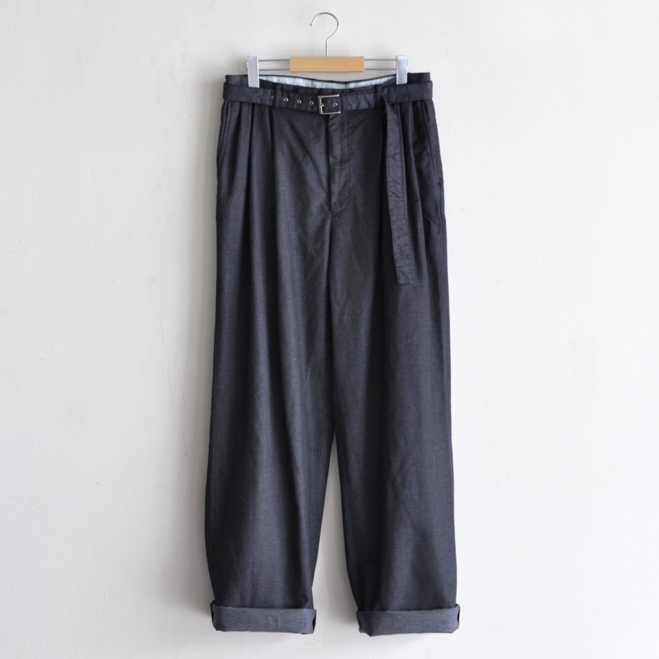 PE/CO DENIM BELTED WIDE PANTS [DARK NAVY]