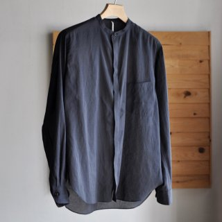 STAND COLLAR WIDE BODY FLYFRONT SHIRTS [NAVY]