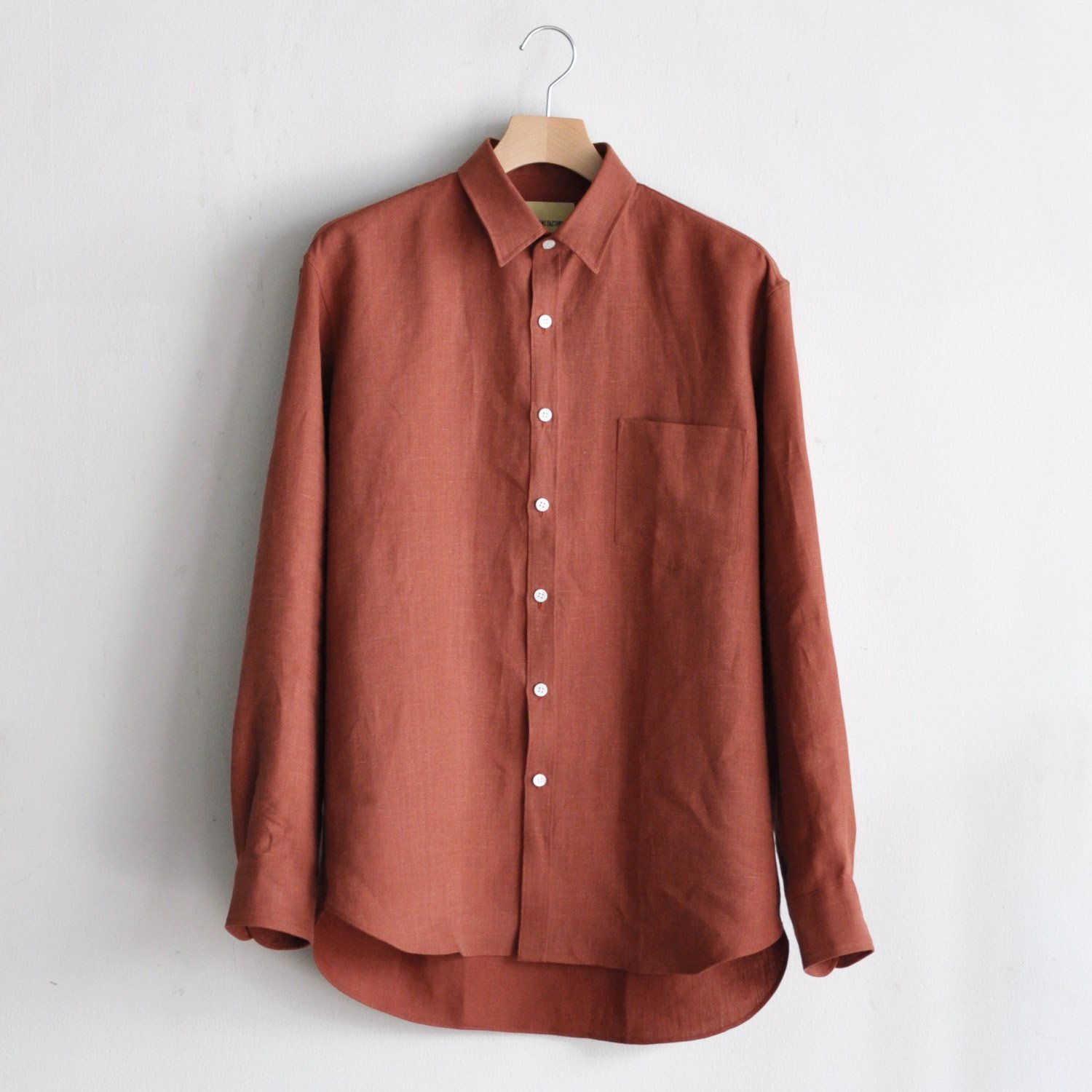 BRUSHED LINEN OVERSIZED SHIRT [CLAY RED]