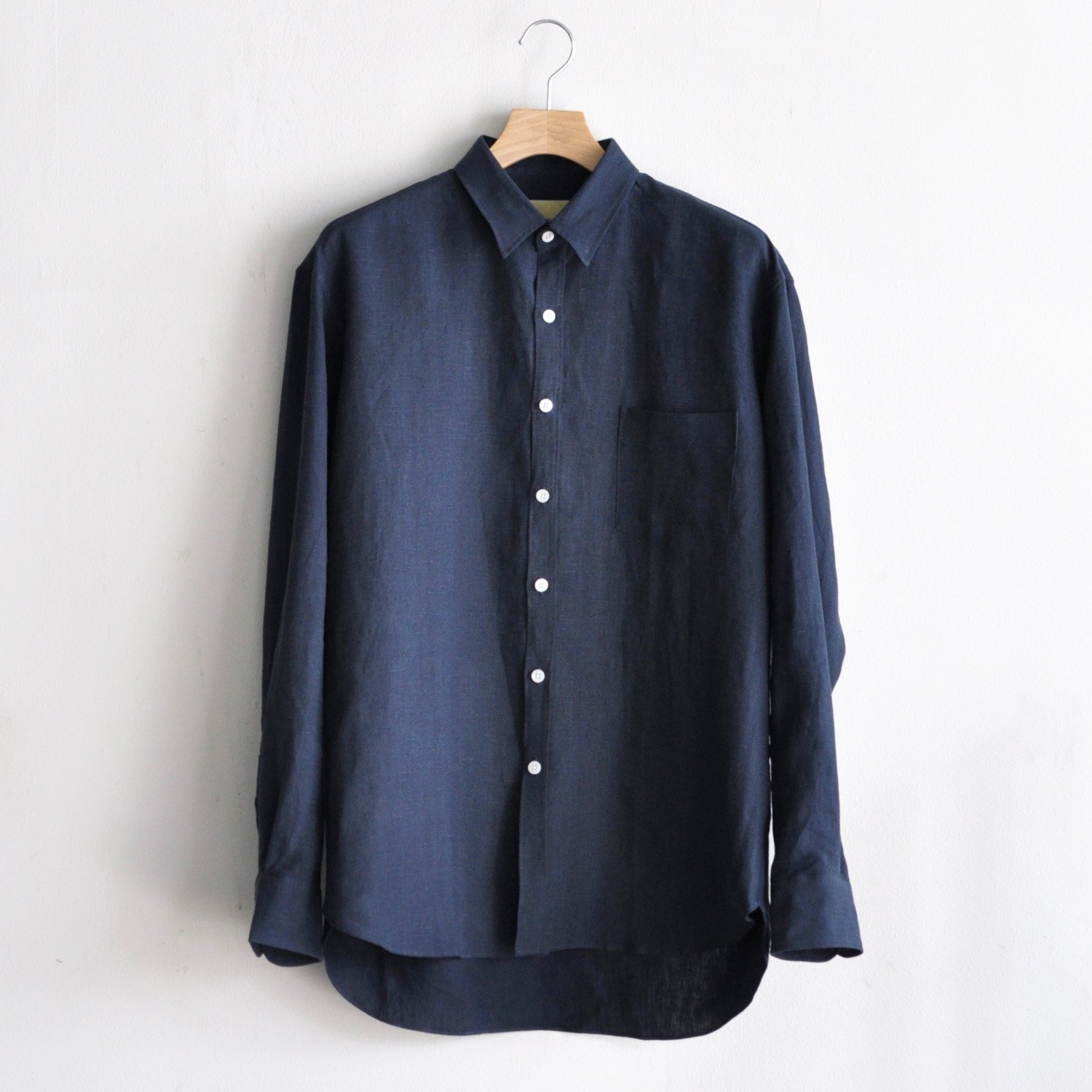 BRUSHED LINEN OVERSIZED SHIRT [NAVY]