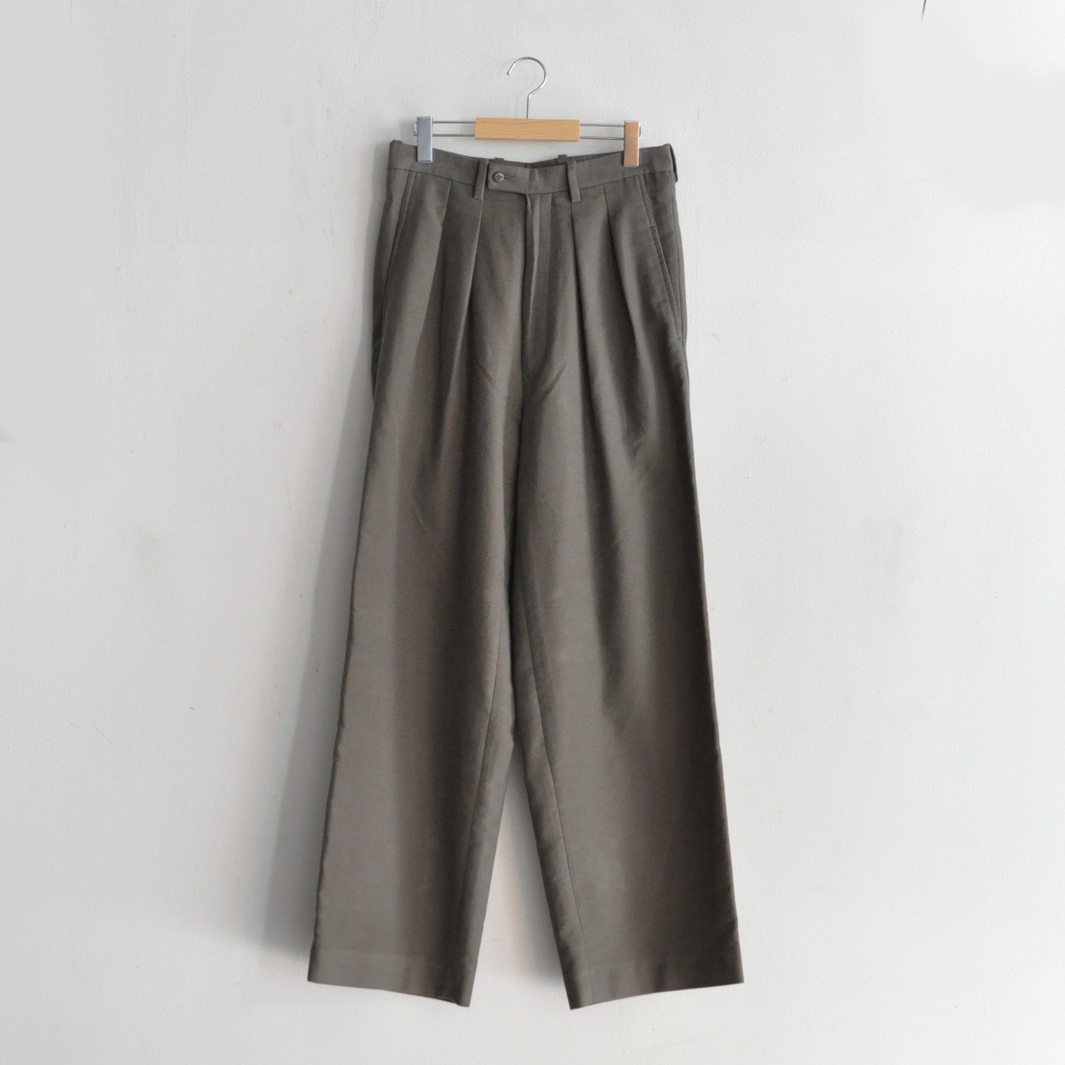 2 TUCKED DRESS WIDE BAGGY PANTS [BEIGEGREY]